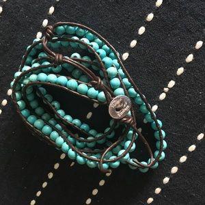 Victoria Emerson turqoiuse beaded wrap bracelet.